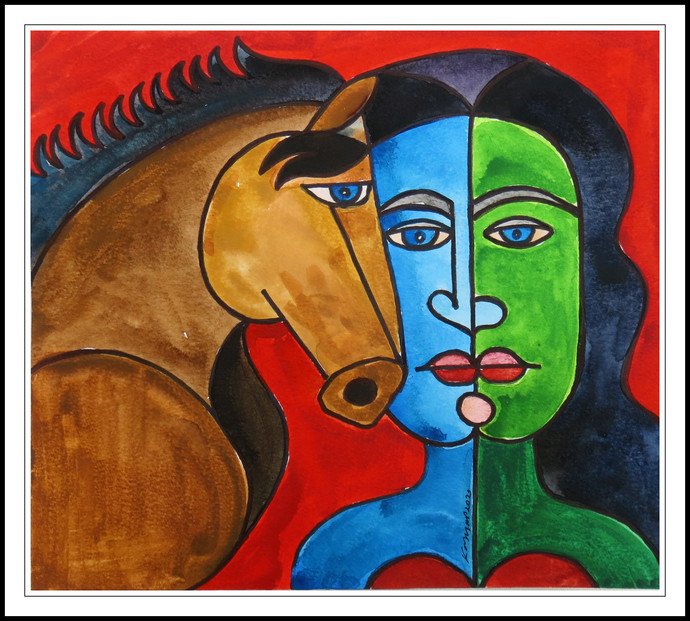 FACES IN FRAME 8 by KASHYAP PARIKH, Cubism Painting, Pen, pencil, watercolour on paper, Japonica color