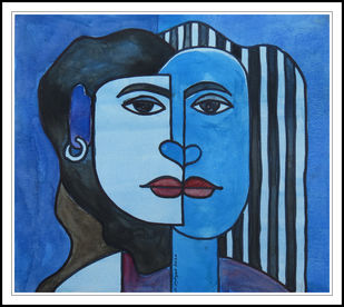 FACES IN FRAME 10 by KASHYAP PARIKH, Folk Painting, Pen, pencil, watercolour on paper, Denim color