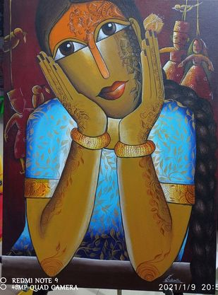 Dreaming Puppet Show by k p sukanthi, Expressionism Painting, Acrylic on Canvas,