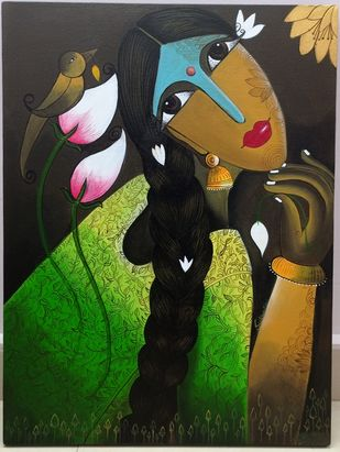 Flaunting Beauty by k p sukanthi, Expressionism Painting, Acrylic on Canvas, Sorrell Brown color