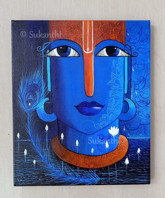 Krishna hues by k p sukanthi, Expressionism Painting, Acrylic on Canvas, Denim color