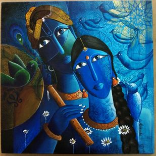 Radha krishna by k p sukanthi, Expressionism Painting, Acrylic on Canvas, Shark color