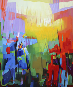 Petrocher_ 38 by Ganesh Doddamani, Abstract Painting, Oil on Canvas,