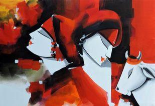 love song by pradeesh k raman, Decorative Painting, Acrylic on Canvas, Thunderbird color