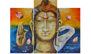 Mani Padme Hum by Anjali U. Chaudhary, Decorative Painting, Acrylic on Canvas, Driftwood color