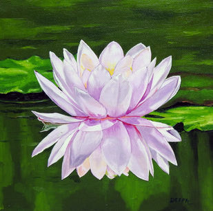 Water Lily by Deepali S, Realism Painting, Oil on Canvas, Seaweed color