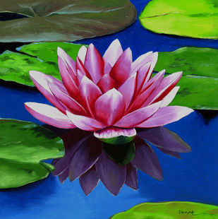 Water Lily by Deepali S, Realism Painting, Oil on Canvas, Bouquet color
