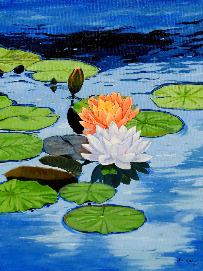 Water Lily by Deepali S, Realism Painting, Oil on Canvas, Denim color
