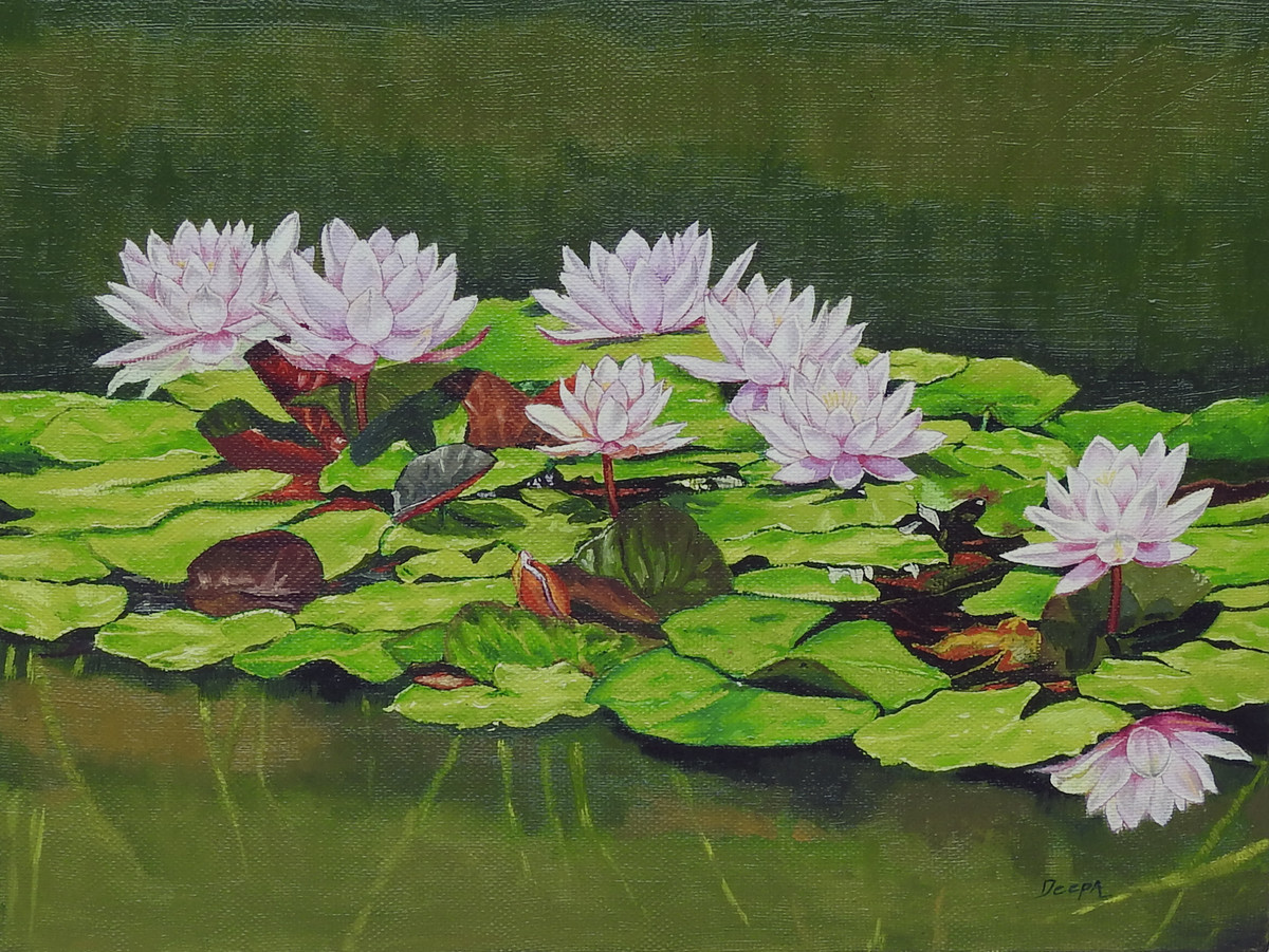 Water Lily by Deepali S, Realism Painting, Oil on Canvas, Woodland color