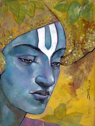 Gopal by Biswajit Das, Conceptual Painting, Mixed Media on Paper, Gold Fusion color