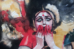 Dancer 3 by Mopasang Valath, Expressionism Painting, Watercolor on Paper, Charade color