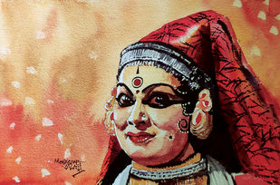 Emotions : Kathakali Dancer by Mopasang Valath, Expressionism Painting, Watercolor on Paper, Antique Brass color