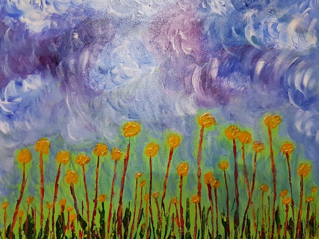 Clouds by Deepali Sinha, Decorative, Illustration Painting, Acrylic on Canvas, Waterloo color