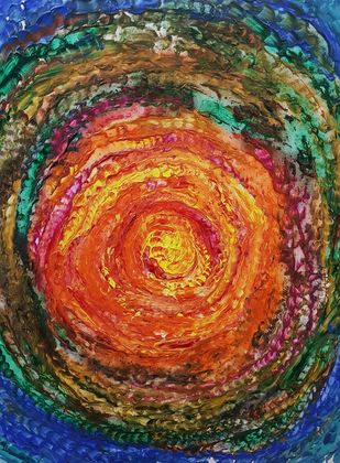 Galaxy by Deepali Sinha, Abstract, Impressionism Painting, Acrylic on Canvas, Raw Sienna color