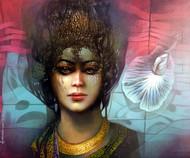 Dream Lives by Guru kinkar , Fantasy Painting, Acrylic on Canvas, Woody Brown color