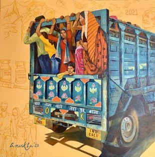 JOURNEY TO '21 & BEYOND by Anukta Mukherjee Ghosh, Conceptual Painting, Acrylic on Canvas, Porsche color