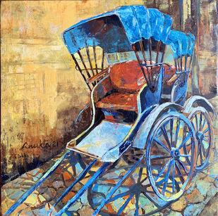 WAITING WHEELS II by Anukta Mukherjee Ghosh, Pop Art, Realism Painting, Acrylic on Canvas, Sorrell Brown color