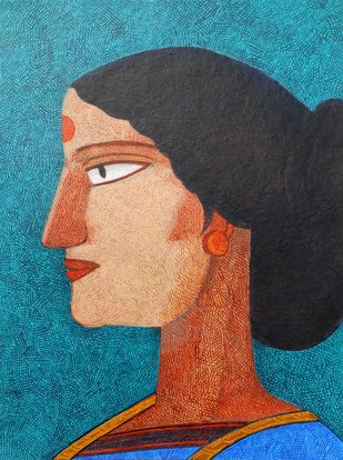 Ananya by Amit Biswas, Folk Painting, Acrylic on Paper, Raw Sienna color