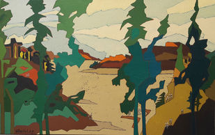 Manali Hills by Sheetal Singh, Abstract Painting, Acrylic on Canvas, Yuma color