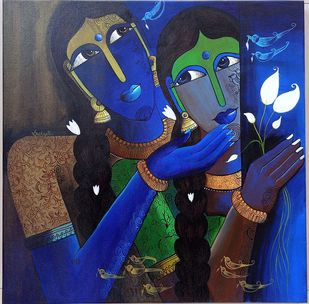 Sibling love by k p sukanthi, Expressionism Painting, Acrylic on Canvas,