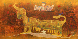 From Village To The Virtual World by Lakhan Singh Jat, Conceptual Painting, Acrylic on Canvas, Rope color