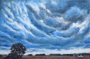 Looming Large by Usha Shantharam, Impressionism Painting, Acrylic on Canvas, Slate Gray color