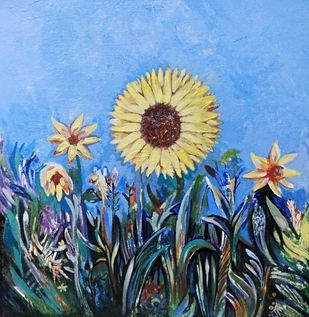 Sunflower by A B PANDEY, Decorative Painting, Acrylic on Canvas, Cornflower color