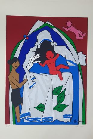 MOTHER TERESSA by M F Husain, Abstract, Cubism Serigraph, Serigraph on Paper, Silver Sand color