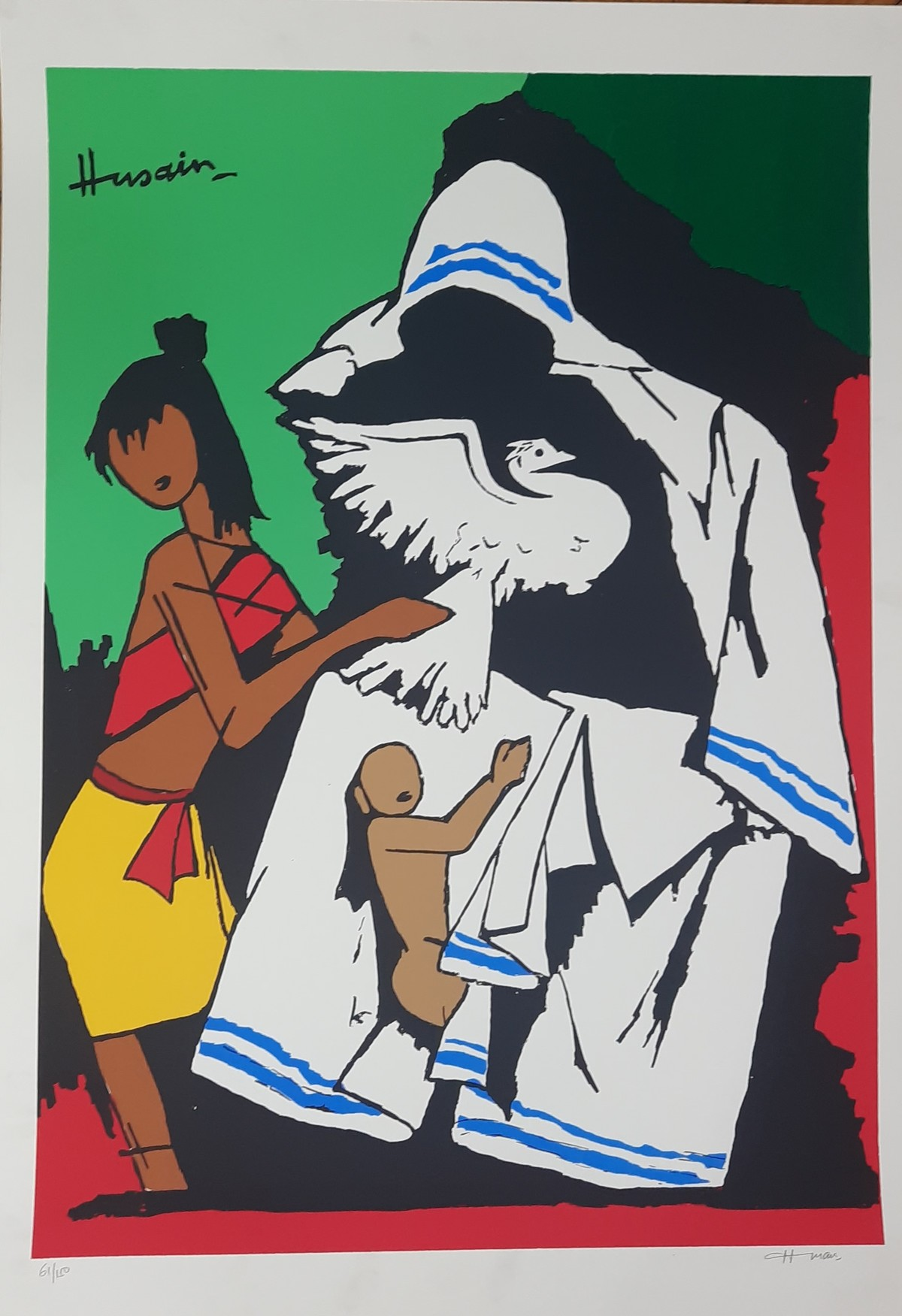 MOTHER TERESSA by M F Husain, Expressionism Serigraph, Serigraph on Paper, Outer Space color
