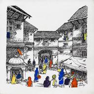 Virasat by Natu Mistry, Illustration Painting, Acrylic & Ink on Canvas, Mercury color