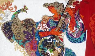 The World of Ravindra Salve by Ravindra Salve, Art Deco, Illustration Painting, Acrylic on Canvas, Oxford Blue color