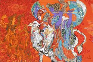 The World of Ravindra Salve by Ravindra Salve, Decorative, Illustration Painting, Acrylic on Canvas, Valencia color