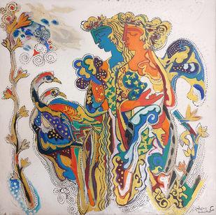 The World of Ravindra Salve by Ravindra Salve, Decorative, Fantasy Painting, Acrylic on Canvas, Fiord color