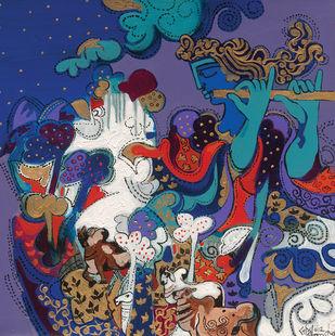 The World of Ravindra Salve by Ravindra Salve, Art Deco, Illustration Painting, Acrylic on Canvas, East Bay color