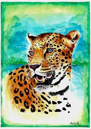 Leopard Watercolor by Augur, Conceptual Painting, Watercolor on Paper, Tropical Rain Forest color