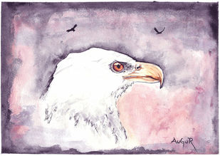 The Eagle by Augur, Conceptual Painting, Watercolor on Paper, Lola color
