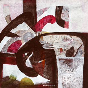 Roop by Bhanwarsingh Panwar, Abstract Painting, Acrylic on Canvas, Swiss Coffee color