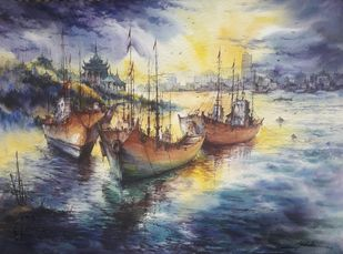 The harbor -4 by Shubhashis Mandal, Impressionism Painting, Watercolor on Paper, Scarpa Flow color