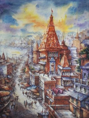 Top view of benaras-3 by Shubhashis Mandal, Impressionism Painting, Watercolor on Paper, Gray color