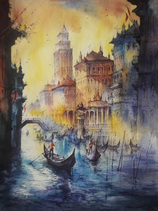 Water city - 2 by Shubhashis Mandal, Impressionism Painting, Watercolor on Paper, Sorrell Brown color