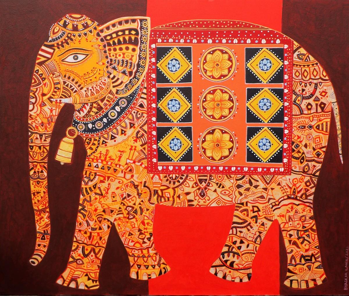 Golden Elephant by Bhaskar Lahiri, Decorative, Folk Painting, Acrylic on Canvas, Valencia color