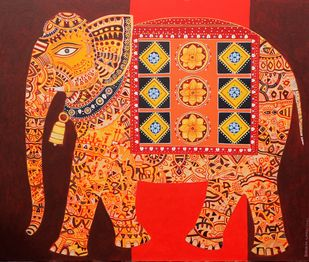 Golden Elephant by Bhaskar Lahiri, Decorative, Folk Painting, Acrylic on Canvas, Valencia color