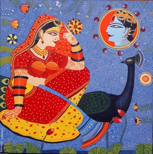 Radha by Bhaskar Lahiri, Decorative, Folk Painting, Acrylic on Canvas, Wild Blue Yonder color
