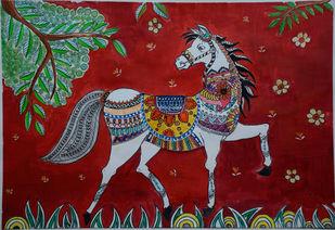 Horse - Madhubani Digital Print by Barnali Basu Goswami,Decorative, Folk