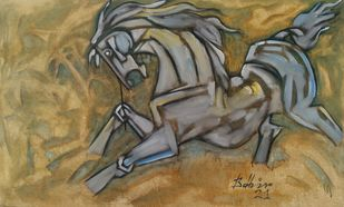 Horse by Balbir Singh, Cubism Painting, Acrylic on Canvas, Shadow color
