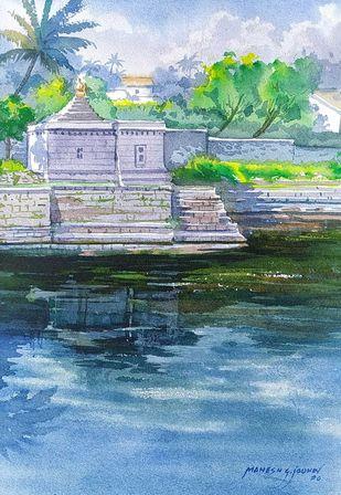 Lake-shore temple at Panhala by Mahesh Jadhav, Impressionism Painting, Watercolor on Paper, Bali Hai color