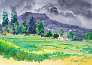 Monsoon at Panhala fort by Mahesh Jadhav, Impressionism Painting, Watercolor on Paper, Envy color