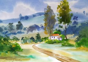 Landscape at Jotiba Hill Road by Mahesh Jadhav, Impressionism Painting, Watercolor on Paper, Submarine color