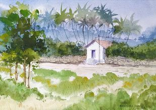 Katyayani Road Farmhouse 6 by Mahesh Jadhav, Impressionism Painting, Watercolor on Paper, Silver Sand color