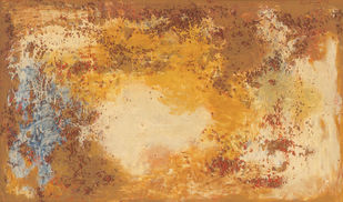 Scarlet Pearls by Ratan Parimoo, Abstract Painting, Mixed Media on Wood, Tussock color